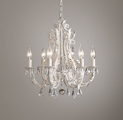 Palais Small Chandelier Rustic White: For over the bathtub.