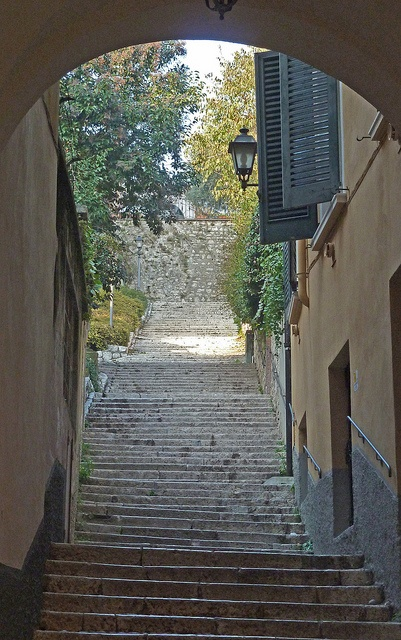 Steps to Brescia Castle - province of Brescia , Lombardy