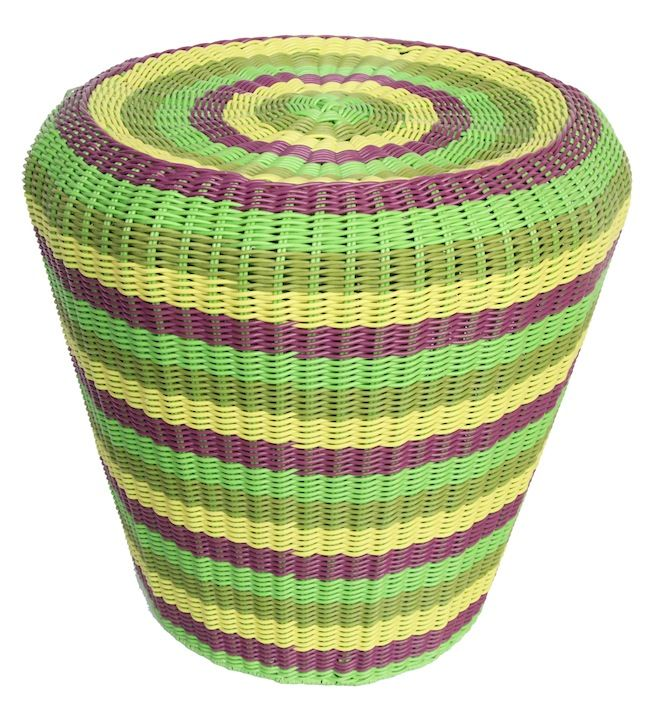 NEW IN: Green Striped Rattan Ottoman - waterproof! $160AUD RRP.  http://www.philbee.com.au/decor/outdoor-indoor-waterproof-hand-woven-rattan-ottoman.html