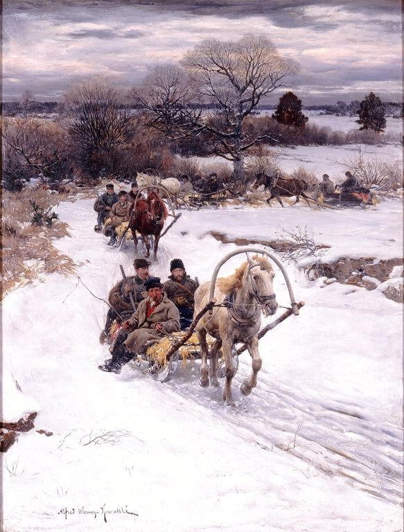 Alfred Kowalski (Polish, 1849–1915), Winter in Russia, before 1885.