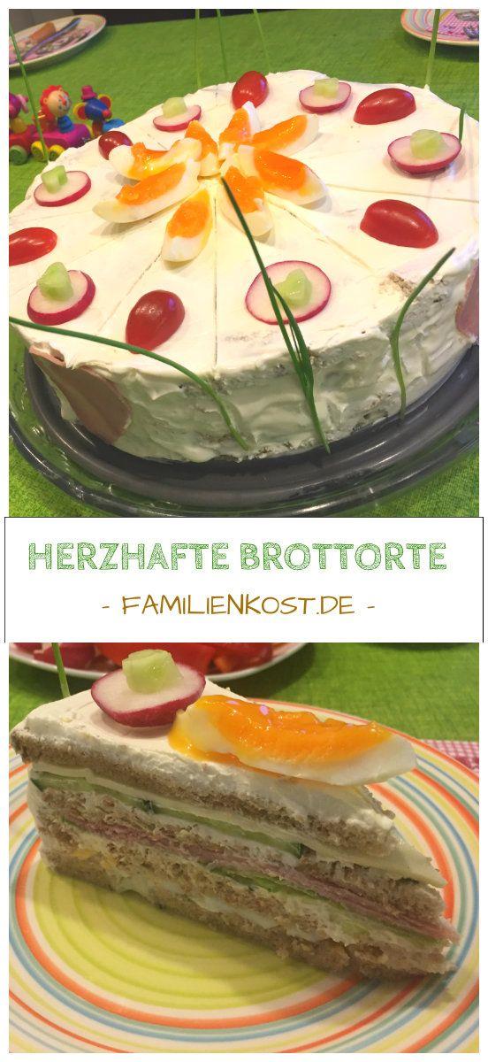 Rezept und Anleitung für eine herzhafte Brottorte mit Frischkäse, Schinken, Salat, Käse und Ei, die sich wunderbar zum Geburtstag und jedem anderen Anlass eignet: https://www.familienkost.de/rezept_brottorte_mit_frischkaese.html