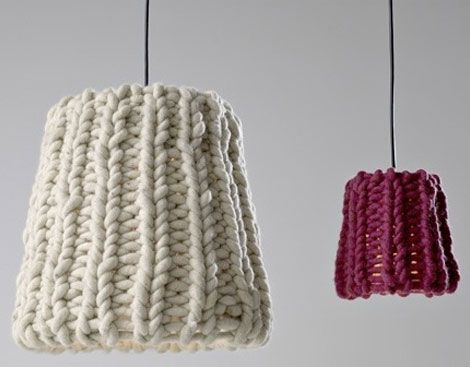 Cool 38 Soft And Comfy Knitted Furnishing Pieces For Fall And Winter : Cozy  Knitted Furniture With White Wall Red Lantern Design Amazing Ideas