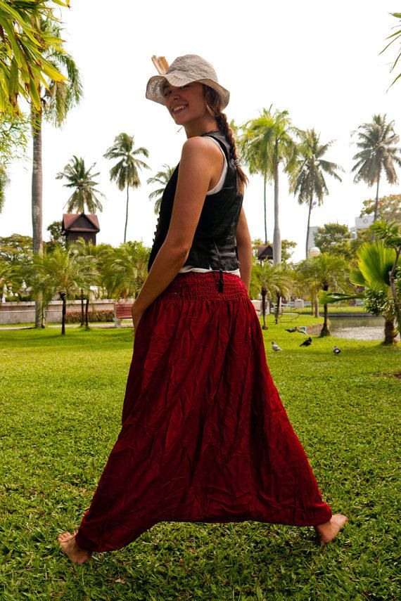 thai harem pants Cotton Pants Dark Red by Amonchai on Etsy