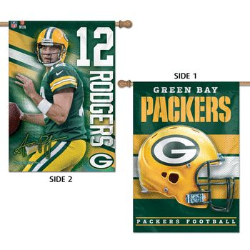 Green Bay Packers Aaron Rodgers 2 Sided House Flag, 28x40