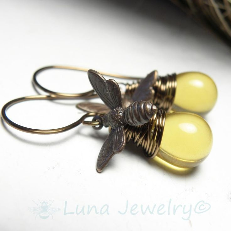 Honey Bee Jewelry | Bumble Bee Earrings | Wire Wrap Honey Bee Brass Charm Earrings