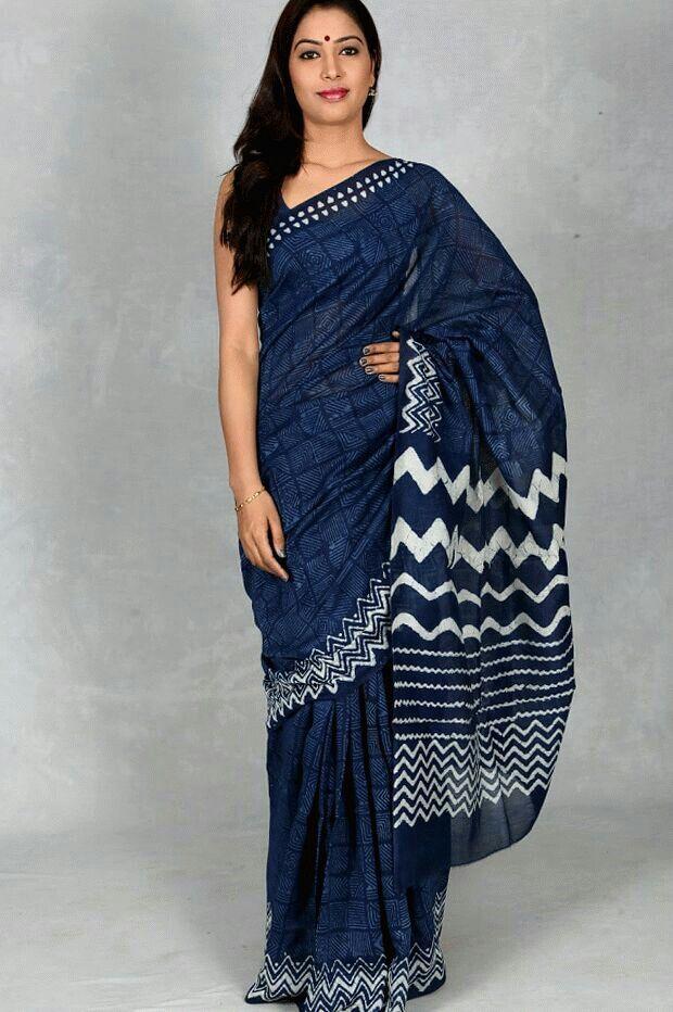 Shilpi Dabu print saree ( Indigo )