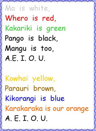 Maori colors song for kids