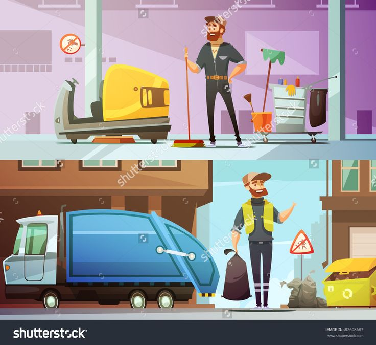 Professional Cleaning And Garbage Collecting Service At Work 2 Horizontal Cartoon Banners Set Abstract Isolated Vector Illustration - 482608687 : Shutterstock