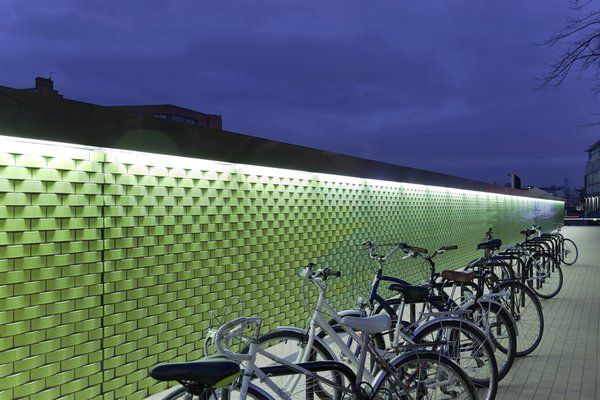 West Hampstead Thameslink Station- detail view of illuminated profiled glaze brick wall