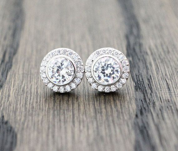 designer inspired clear cz with halo pave stud earring on Etsy, $15.99