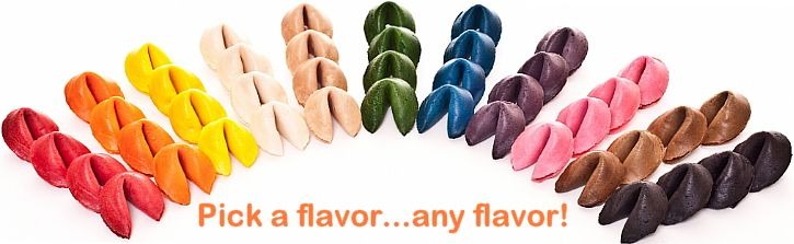 An array of colorful fortune cookies in many colors.