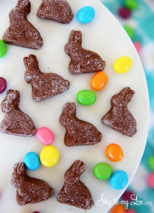 Chocolate Cream Cheese Bunnies! Make these cute and extreemly good bunnies! Everyone will want them! www.skiptomylou.org #easter #recipe #creamcheesemints #bunnies