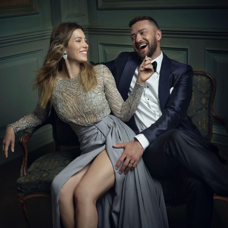 Jessica Biel and Justin Timberlake | Mark Seliger's Vanity Fair Oscar Party Portrait Studio