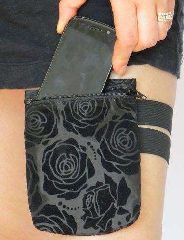 Garter Purse Black Flocked Rose Taffeta