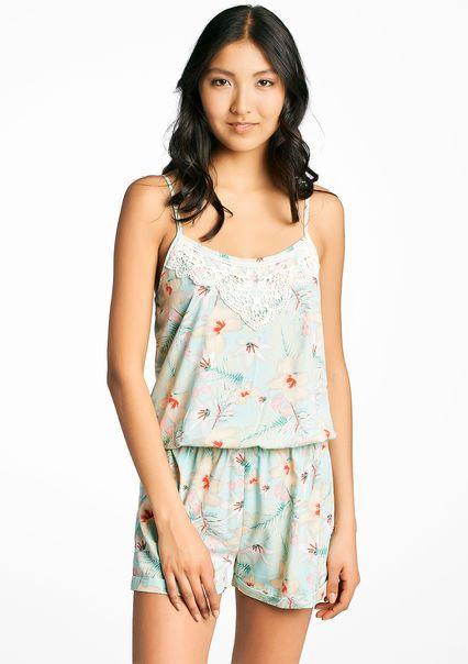 Short jumpsuit with floral print,