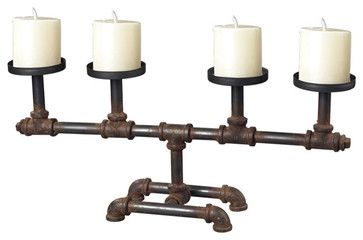 Sterling Industries Industrial Pipe Candleholder - contemporary - Candleholders - Beyond Stores