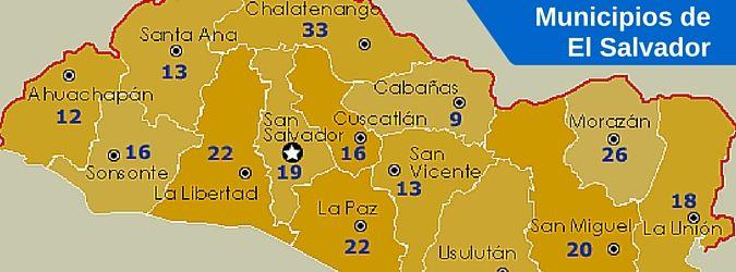 Listado de departamentos de El Salvador con sus municipios, cabeceras y código postal. División política de El Salvador. Códigos postales por municipio.