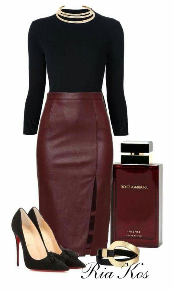 Fashion Style Combination – Black round-neck blouse, with a leather Maroon Pencil-Styled Skirt with a left-side slit,, beautiful black suede pumps to …