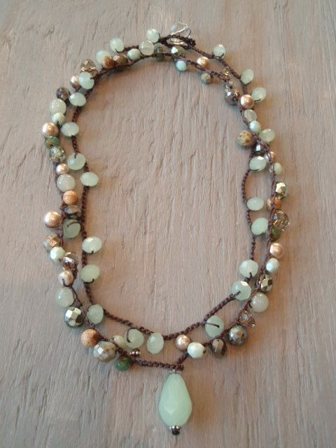 Mint green bohemian necklace Garden Willow celadon by slashKnots, $119.00
