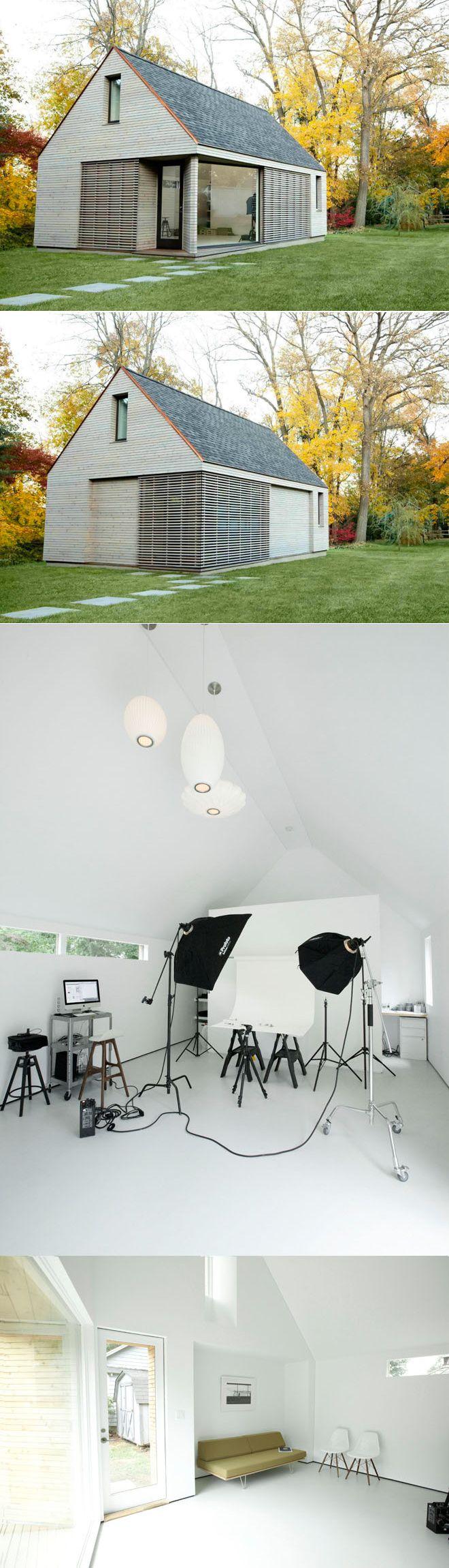Photography studio for Alix Martinez. Note sliding shutters, completely even white interior.