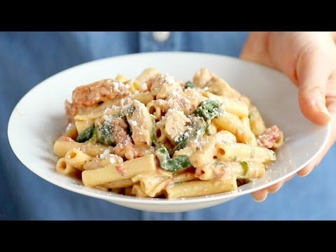 Sun Dried Tomato Chicken Florentine Pasta - Pinch of Yum