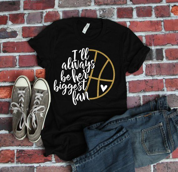 Basketball Mutter || Ich werde immer ihr größter Fan sein || Basketball-Shirt || Oma || Schwester || Tante || Goldglitter || Unisex-Shirt  – Products
