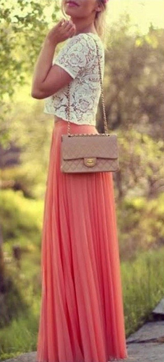 watermelon pink skirt + lace top