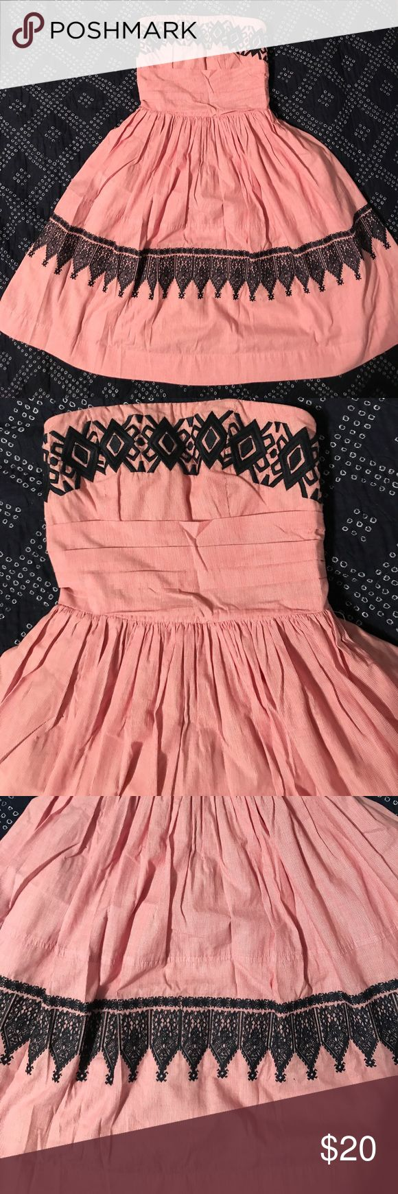 Strapless sundress XS Strapless red and white stripe sundress with navy embroidery, hits at knee, worn once EUC THML Dresses Strapless