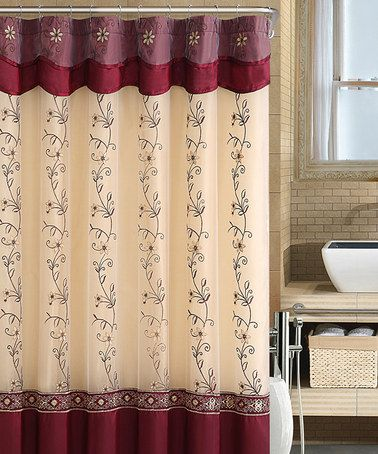 Victoria Classics Burgundy Gold Daphne Shower Curtain Look At Love T