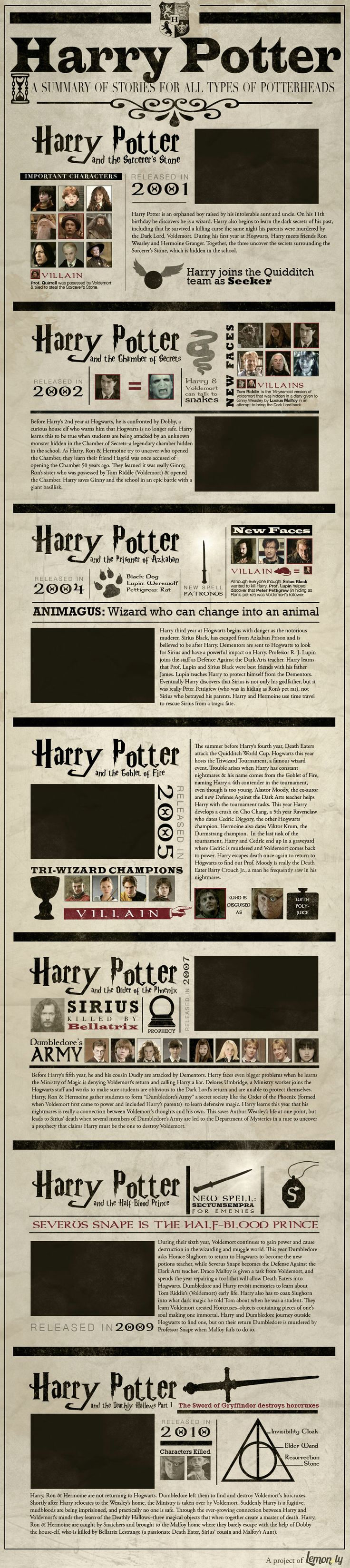 Harry Potter - A summary of stories for all types of PotterHeads #infographic #HarryPotter