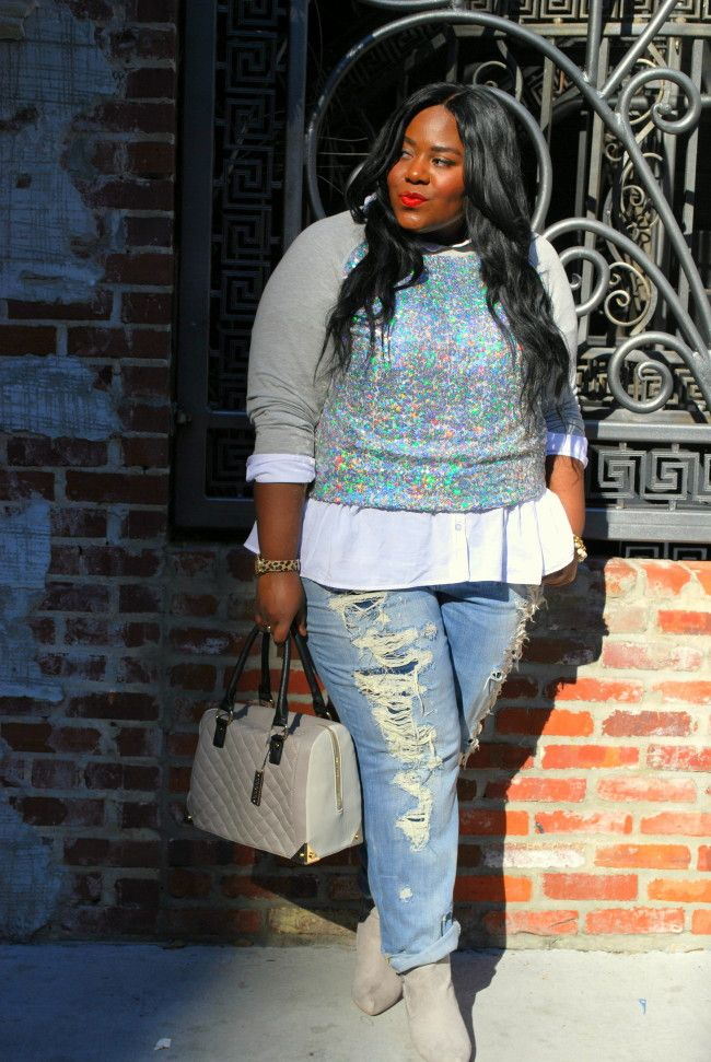 Sequined Sweatshirt, Embellished Sweatshirt, Deb Shops, Musings of a Curvy Lady, Plus Size Fashion, Fashion Blogger, Distressed Boyfriend Jeans, Fashion Blog, Women's Fashion, OOTD