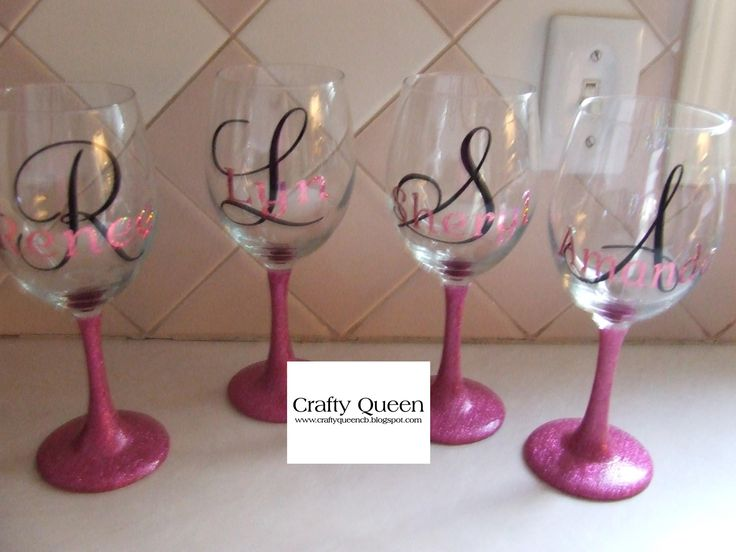 Glitter Stemmed Wine Glasses With Initial Name I Do