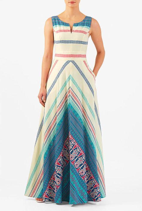 Chevron stripe print cotton maxi dress #eShakti