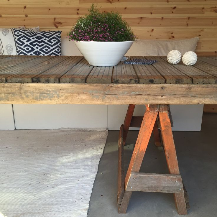 Outdoor table made from an old pier.