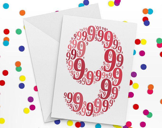 Ninth Birthday Card, Number Nine Card, Ninth Wedding Annniversary Card, 9th Birthday, Happy Birthday Card
