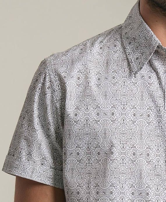Sacred Geometry Button Down Shirt Men Button Up Shirt Flower Of Life Printed Button Shirt For Him Short Sleeve Shirt For Guy Gift For Men