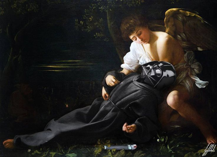 #starwars #darthvader #famous #painting #caravaggio #darkside #art #artwork #photomanipulation  Every death brings a new story.  Saint Francis of Assisi in Ecstasy painting by Caravaggio.