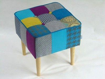 Pufa tapicerowana patchwork ławka