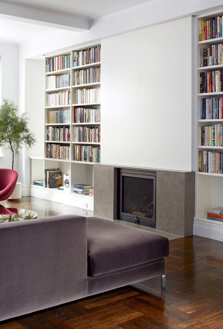 Sliding wall to hide the TV when not is use. Smart and beautiful! - NYTimes.com