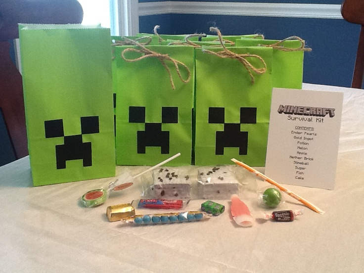 Minecraft Party Survival Kit Treat Bags