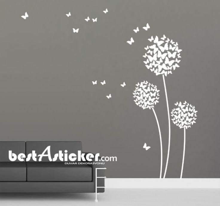 Kelebek Yapraklı Çiçek Duvar Sticker  Fiyat: 66 TL
