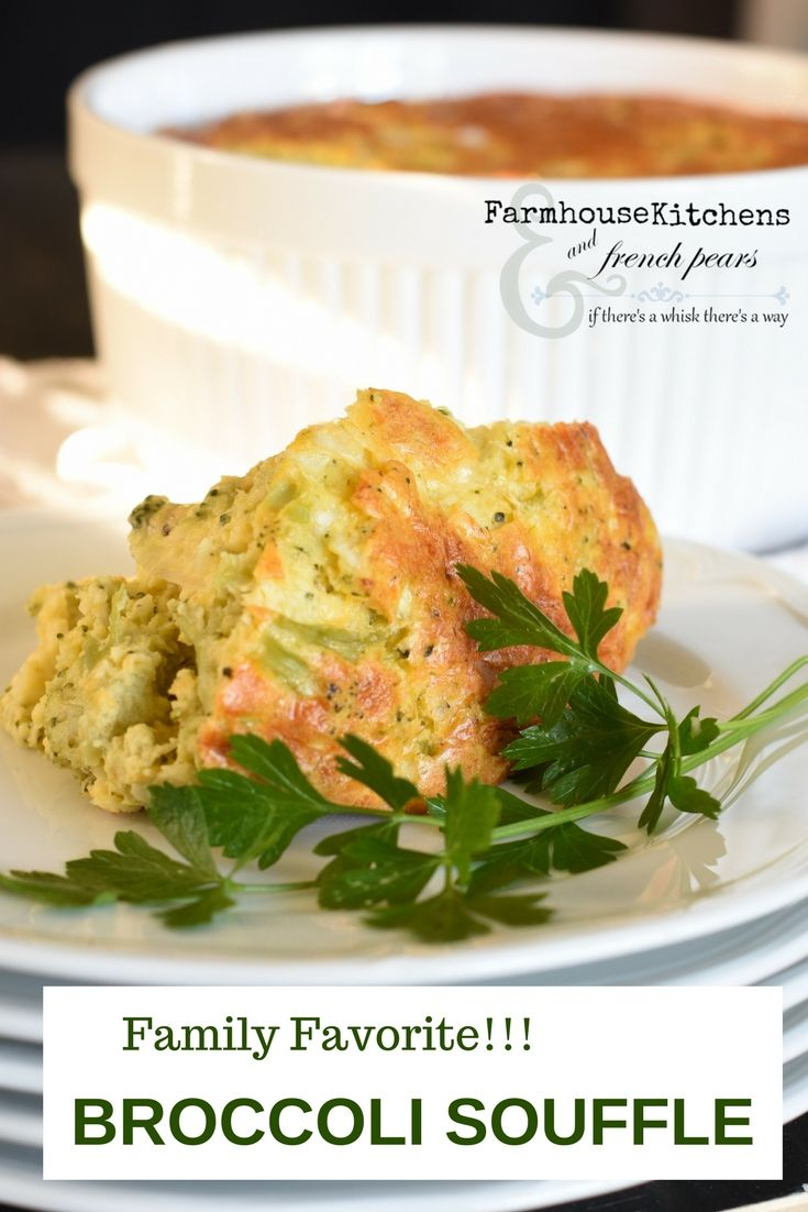 Easy, yet decadent, my family favorite cheesy Broccoli Souffle begins with a white sauce and frozen broccoli, shredded Monterey Jack and a pinch of nutmeg. Welcome to my #FarmhouseKitchen #Broccoli