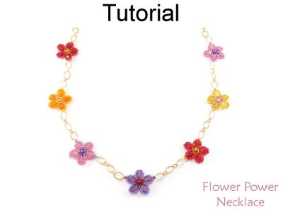 Beaded Flower Power Chain Necklace Beading Pattern Tutorial by Cara Landry with Simple Bead Patterns | Simple Bead Patterns