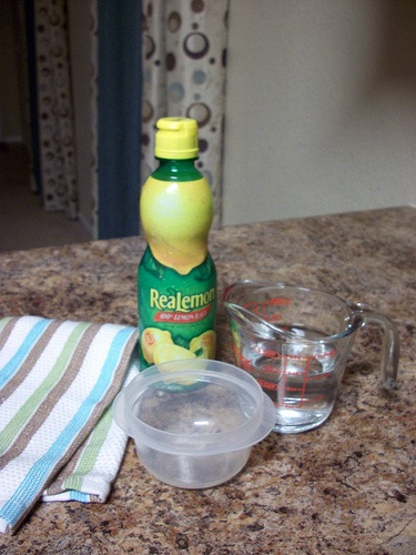 Cleaning your microwave- 1/4 cup lemon juice and 1/4 water you place in a…