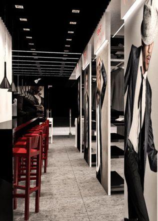 Clothing store design with café design in Nowy Sącz VAN HORN POLAND - archi group. Sklep odzieżowy z kawiarnią VAN HORN w Nowym Sączu.