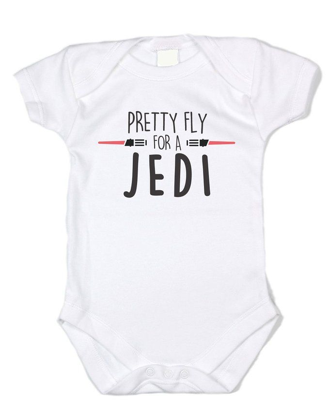 "Baffle Star Wars Inspired ""Pretty Fly for a Jedi"" Black Text, White Onesie (0-3 months)"