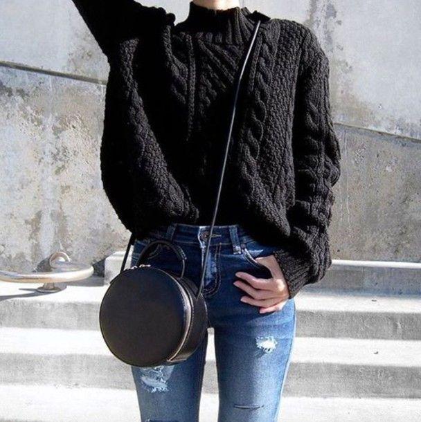 Sweater: black cable knit cable knit black bag black bag round bag denim jeans blue jeans ripped