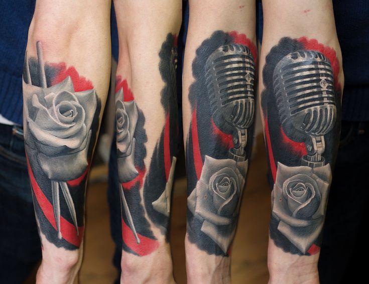 Fully healed music theme tattoo