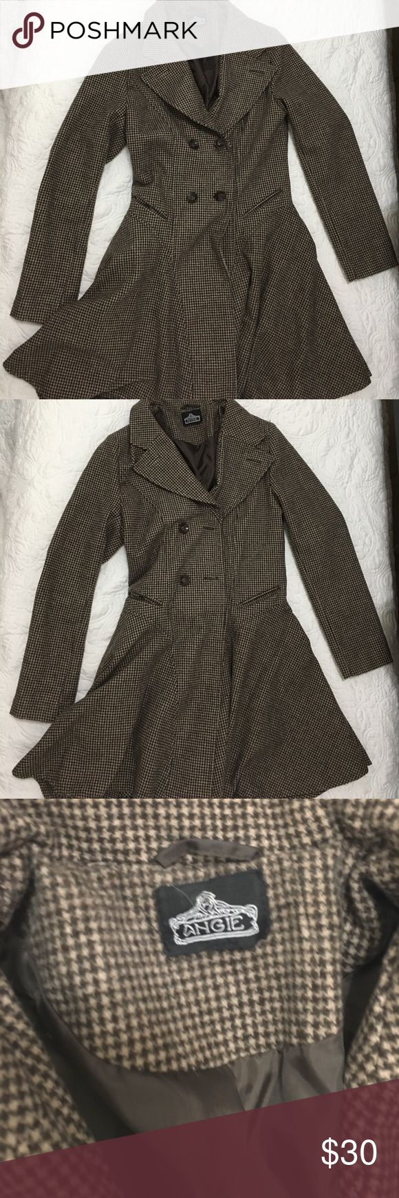 Brown and black coat Patterned classic brown and black coat! Perfect for any chilly weather! Will go with anything! Cute and timeless! Jackets & Coats