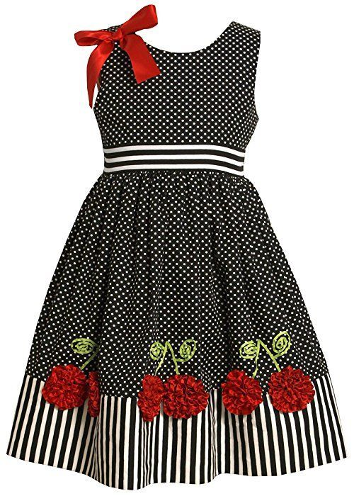 Bonnie Jean Little Girls' Dress with Dots and Stripes, Black/White, 5